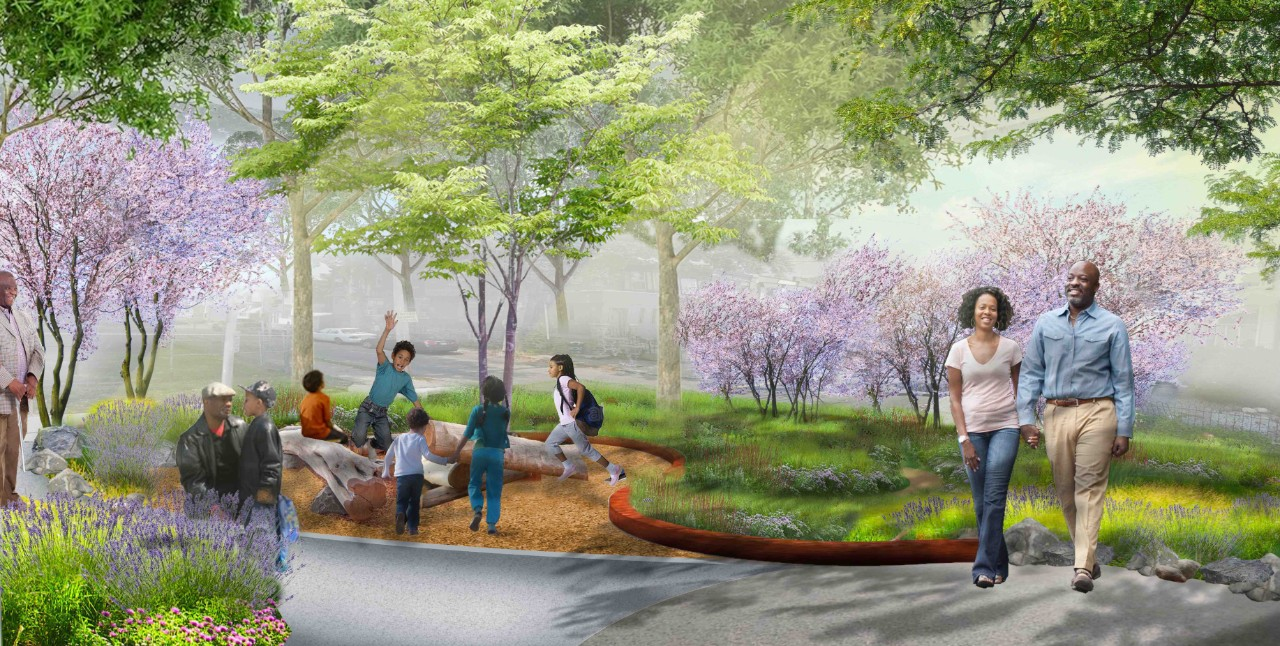 Rendering of a student's landscape architecture work.