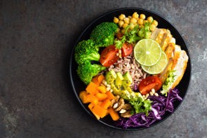 Colorful plate of food