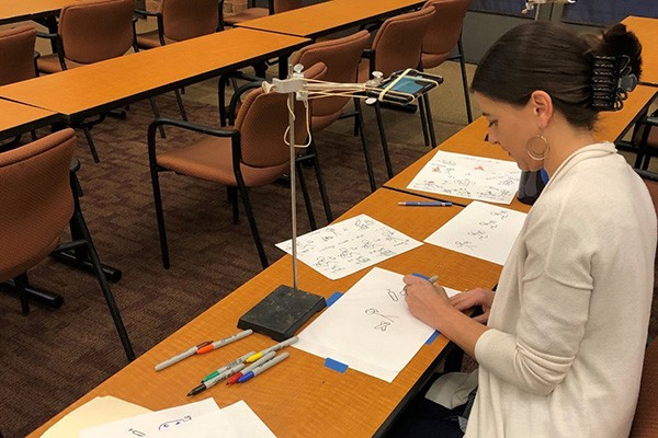 Graduate student illustrating research