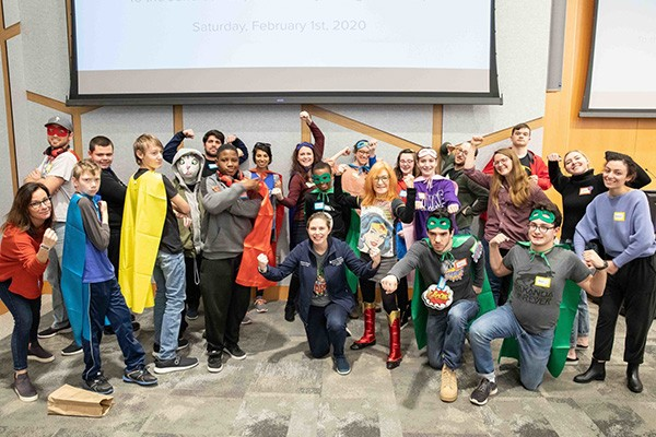 Superhero workshop with Jefferson medical student, tweens and teens with autism