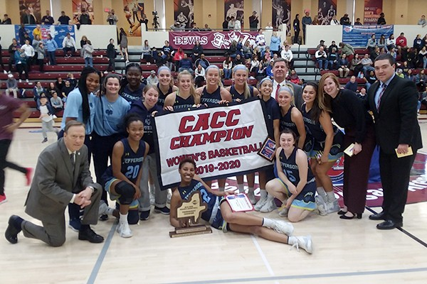 Jefferson's women's team after winning the CACC title