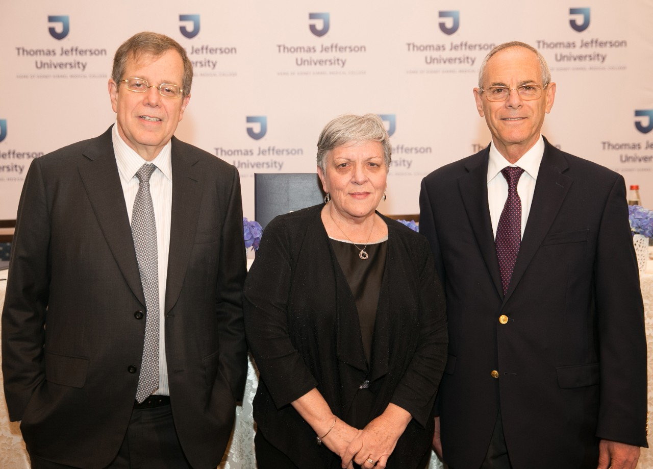 Dr. Mark L. Tykocinski, provost and executive vice president of Thomas Jefferson University; Professor Dina Ben-Yehuda, dean of the Hebrew University Hadassah Faculty of Medicine; and Dr. Zvi Grunwald, director of the Jefferson Israel Center, at the announcement of the Jefferson Israel Center.
