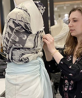 A Jefferson Fashion Design student enters a series of timed chal­lenges to provide a prime environment for creative problem solving through materials exploration
